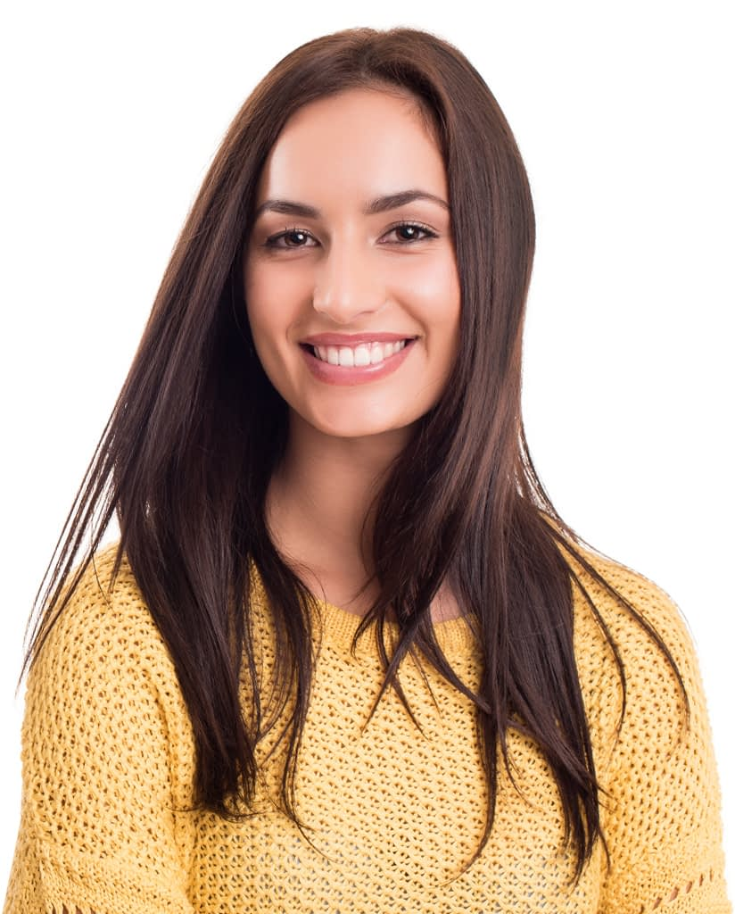 Cheerful woman posing confidently